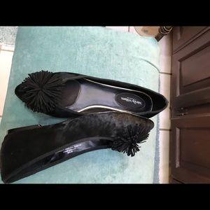Black suede dress flats